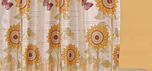 New Sunflower Shower Curtain Hooks Elegant Sunflower Shower Curtain with Resin Hooks