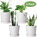 New Transform Plastic Garbage Cans Into Gorgeous yet Cheap Outdoor Planter Pots Fresh Flower Pots 6 Inch Succulent Pots with Drinage Indoor Round Planter Pots with Saucer White Cactus Planters with Hole Outdoor Graden Pots 4 Pack