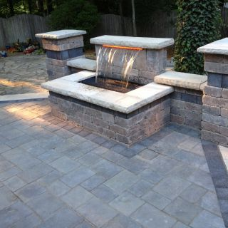 Patio Brick Patterns Lovely Beautiful Waterfall and Raised Patio Using Unilock Brick