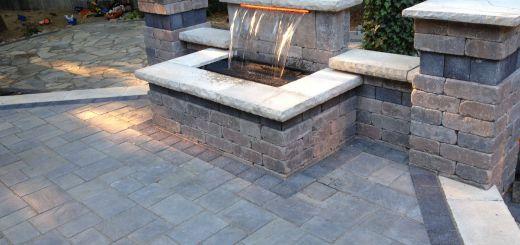 Patio Brick Patterns Lovely Beautiful Waterfall and Raised Patio Using Unilock Brick