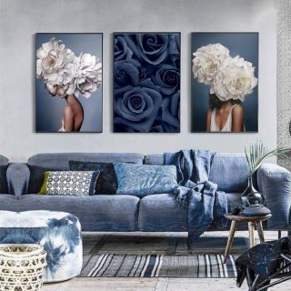 Picturesque Decorating with Canvas Photos Luxury Set Of 3 Posters Floral Fashion Women Portrait Graphy
