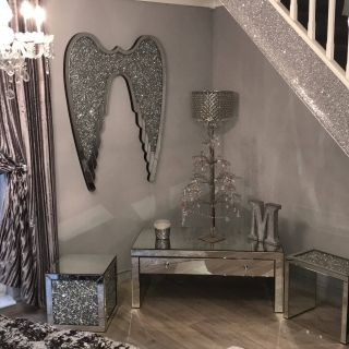 Picturesque Decorating with Small Mirrors Lovely Beautiful Crush Diamond Angel Wings Wall Art
