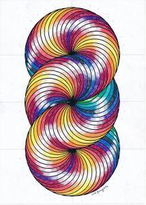 Picturesque Geometric String Art Patterns Unique toroid torus Geometry Symmetry Mathart