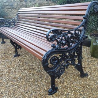 Remarkable Cast Iron Garden Decor Elegant Rare Mickelthwaite Victorian Bench Seven Foot Long