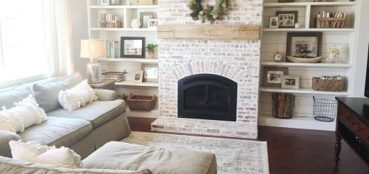 Remarkable Living Room with Fireplace Fresh Built Ins Shiplap Whitewash Brick Fireplace Bookshelf
