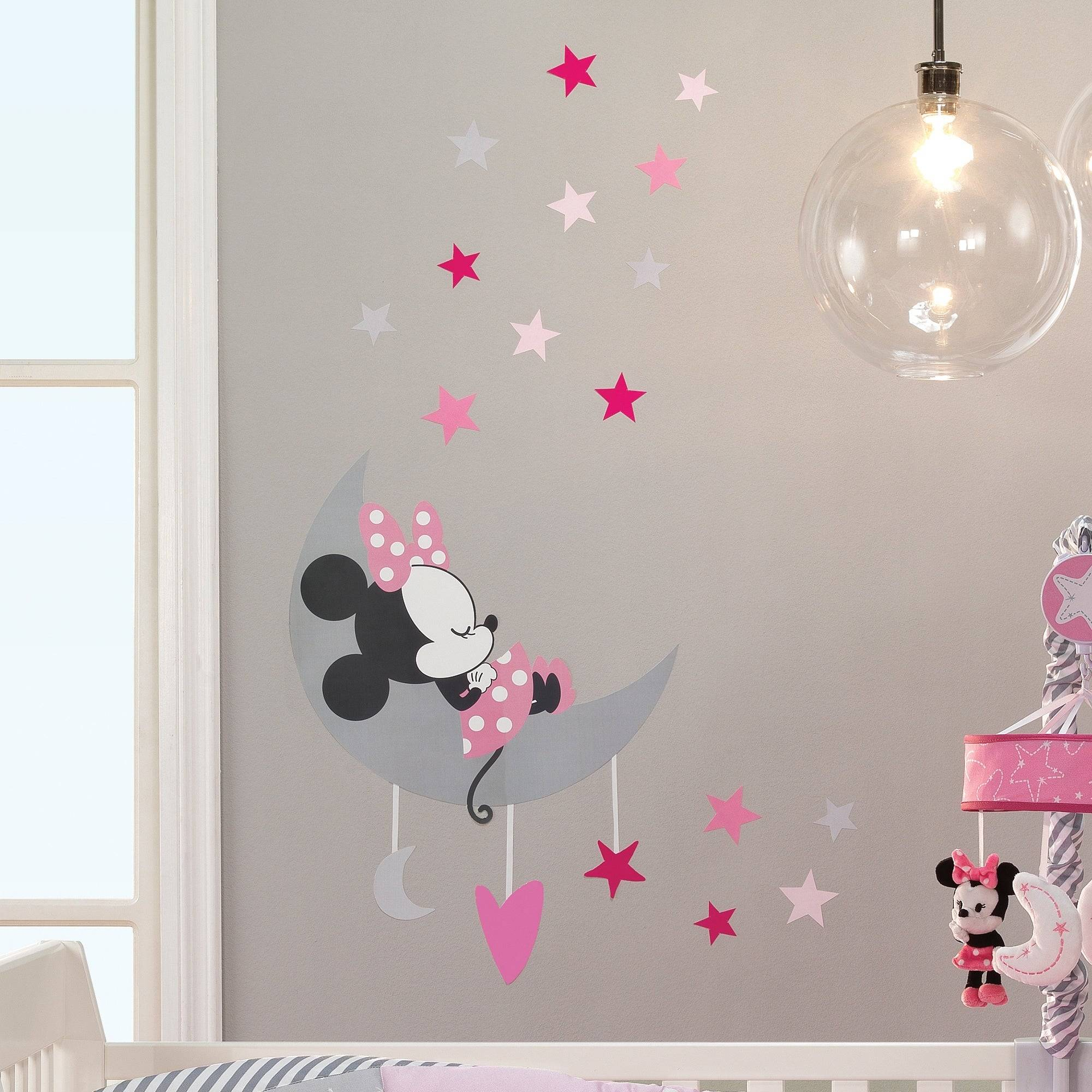 Disney Baby Minnie Mouse Pink Gray Celestial Wall Decals by Lambs & Ivy