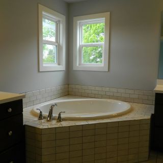 Incredible Bathtub Deck Ideas Luxury Subway Tile Tub Deck with Drop In Bathtub Double Hung