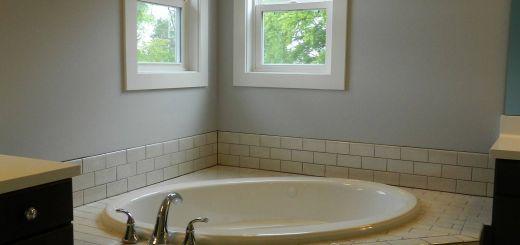 Incredible Bathtub Deck Ideas Luxury Subway Tile Tub Deck with Drop In Bathtub Double Hung