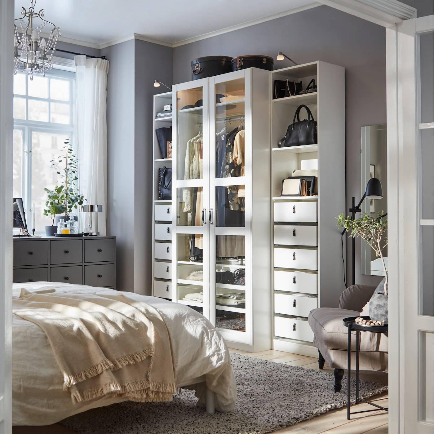 a bedroom with a white wardrobe with glass doors a dark grey 8175e eec03eecb0ce532cd1ad