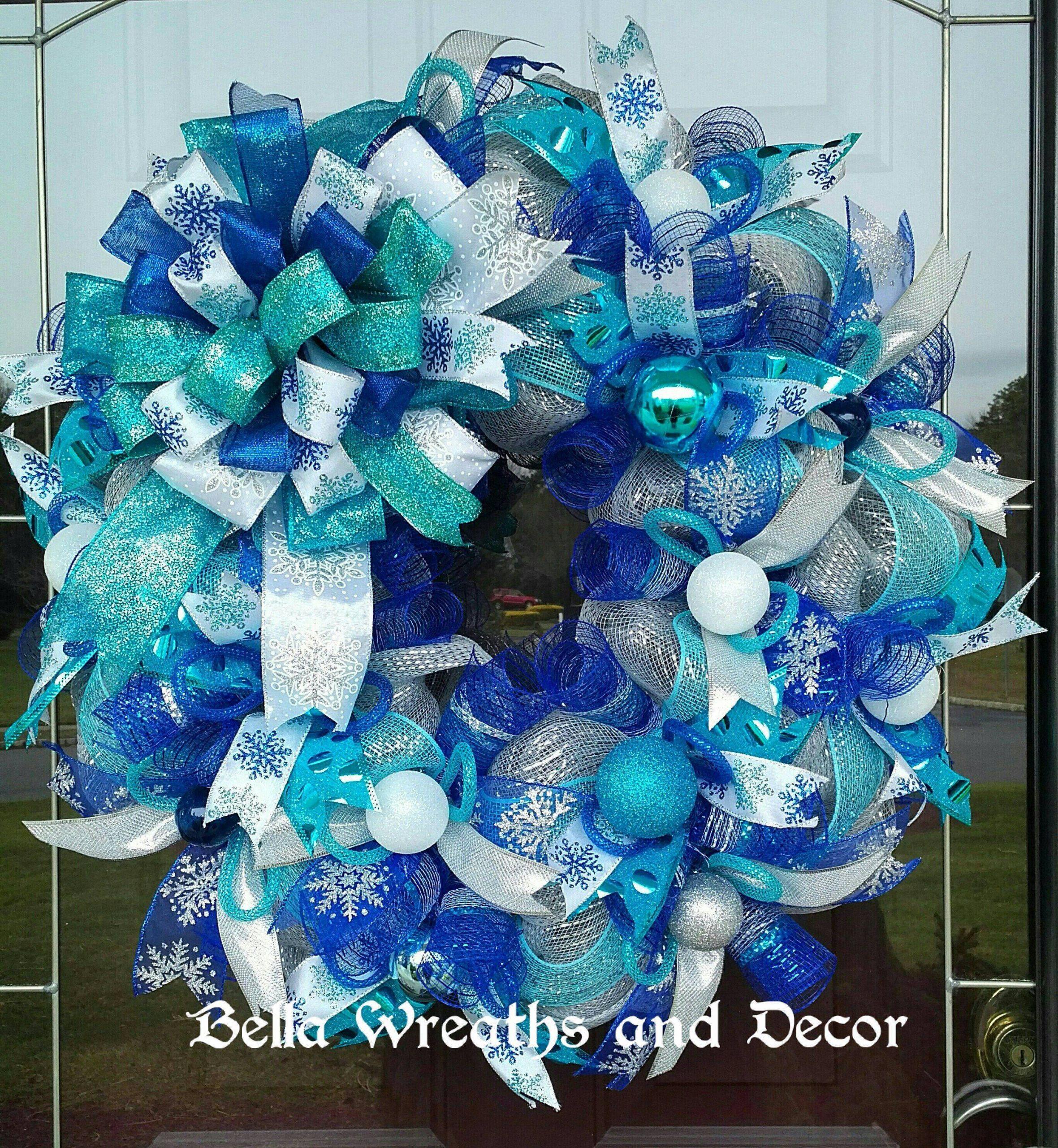 Aqua Blue Christmas Decorations New Winter Wreath Blue Winter Wreath Holiday Wreath Christmas
