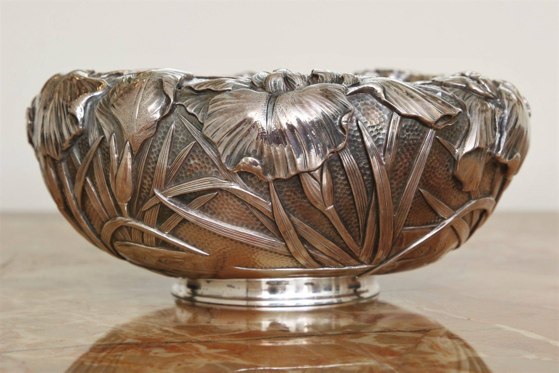 Decorating with Punch Bowls Elegant Art Nouveau with Iris Decoration Signed On the Bottom