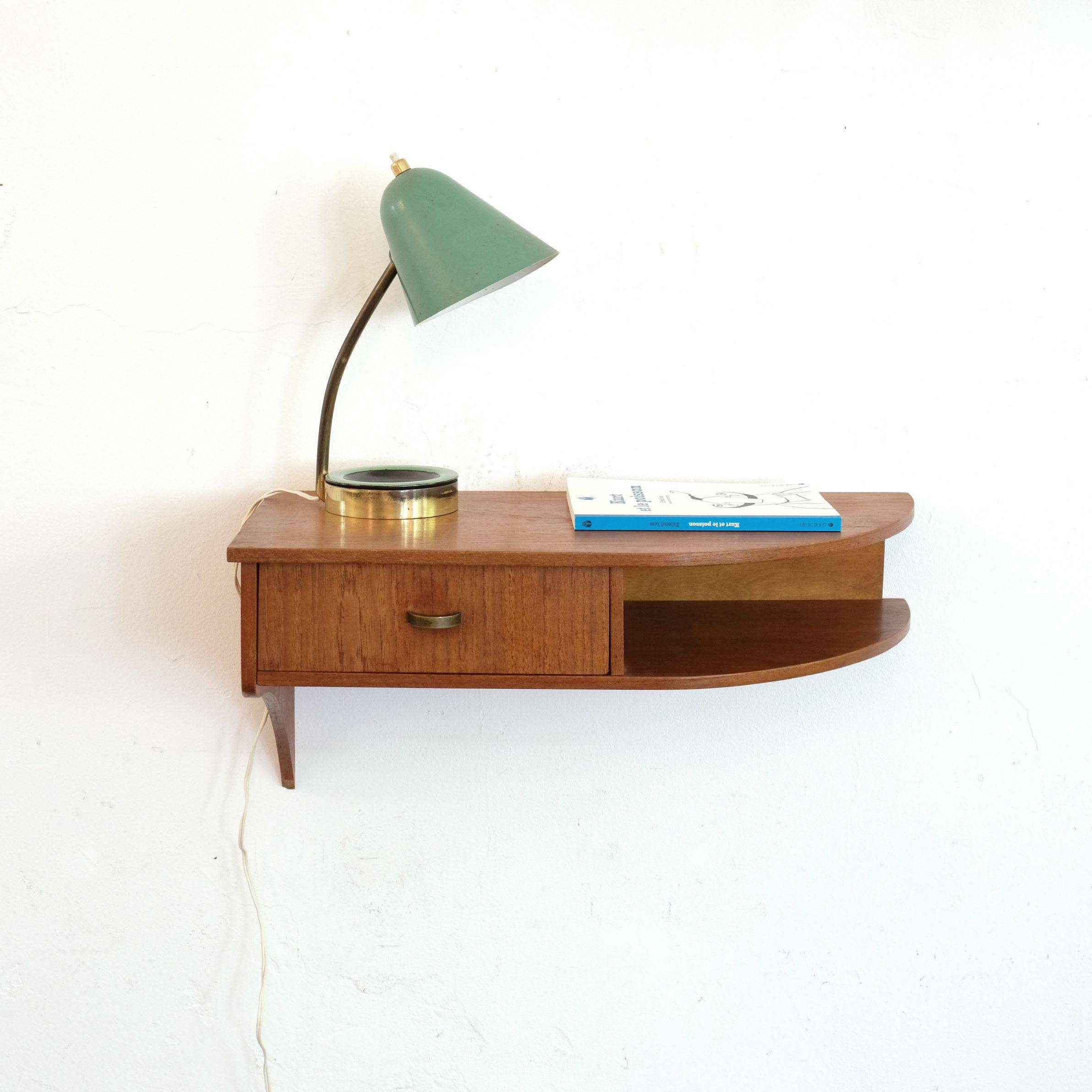 Small Wall Mounted Nightstand Beautiful Danish Wall Mounted Bedside Table From the 60 S In 2020