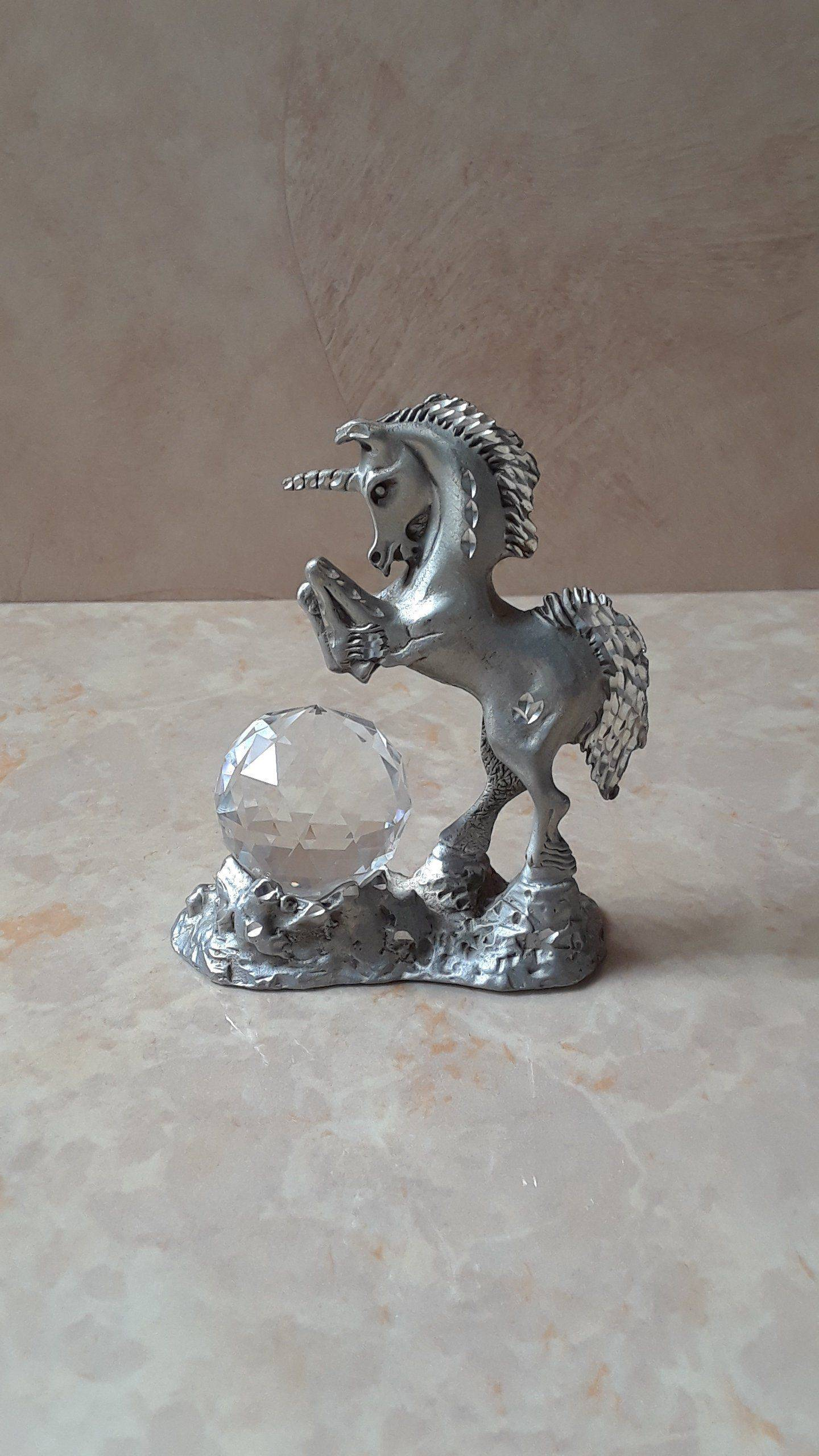 Threadhouse Curtains Beautiful Vintage Cuter Pewter Unicorn Figurine with Crystal Ball