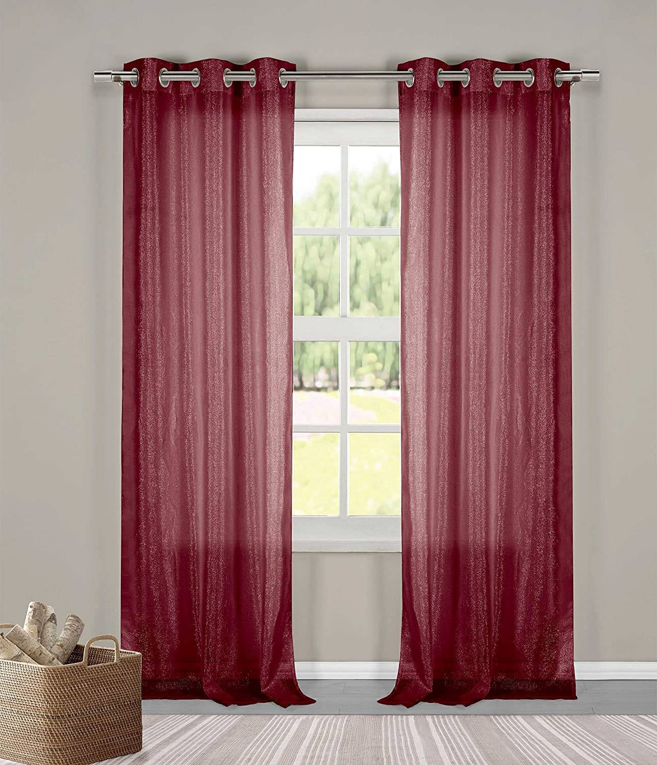 "Threadhouse Curtains Best Of Bathroom and More Two 2 Metallic Thread Sheer Grommet Window Curtain Panels 76"" X 84"" Burgundy"