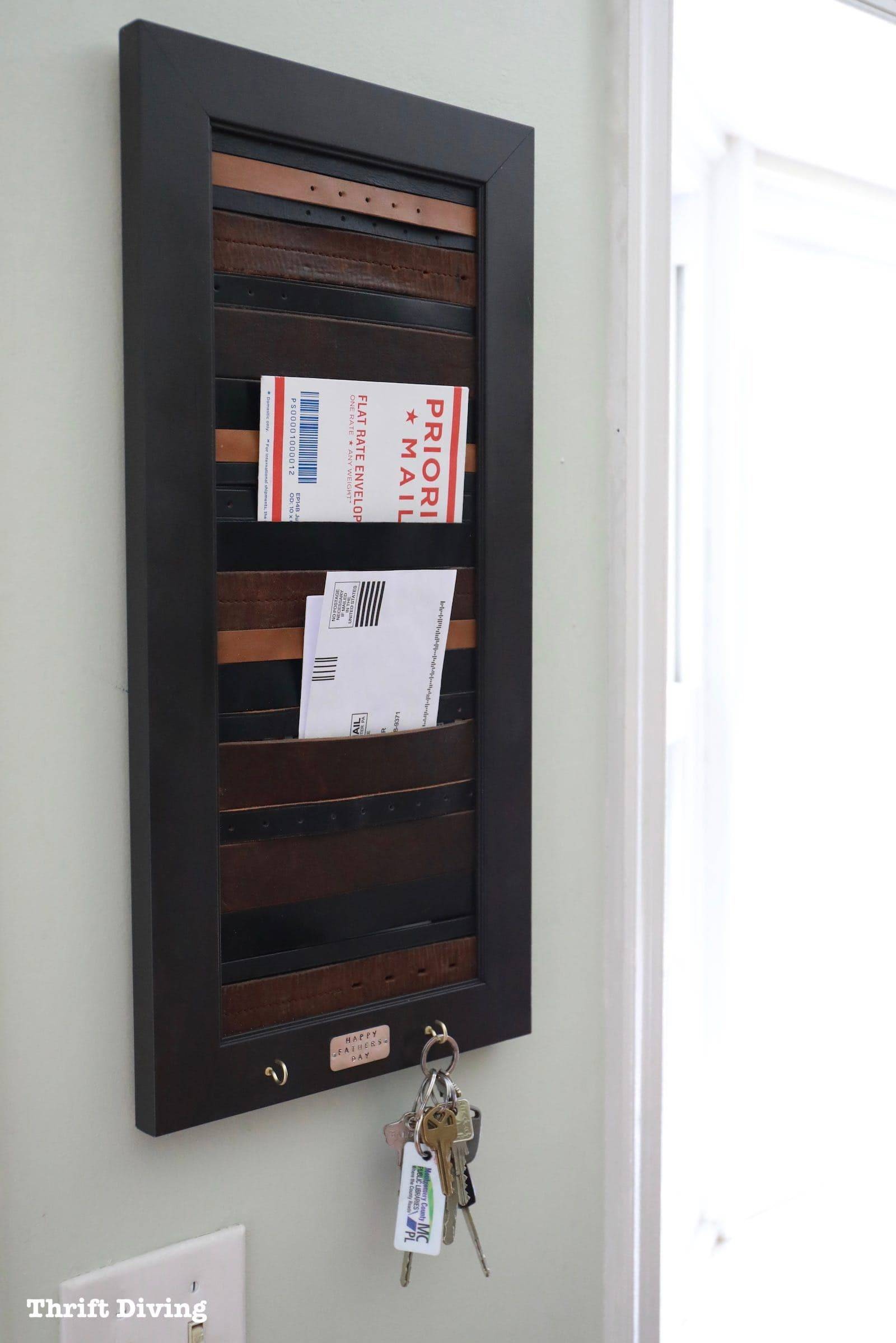 DIY Mail Organizer With Old Leather Belts with keyholder Thrift Diving