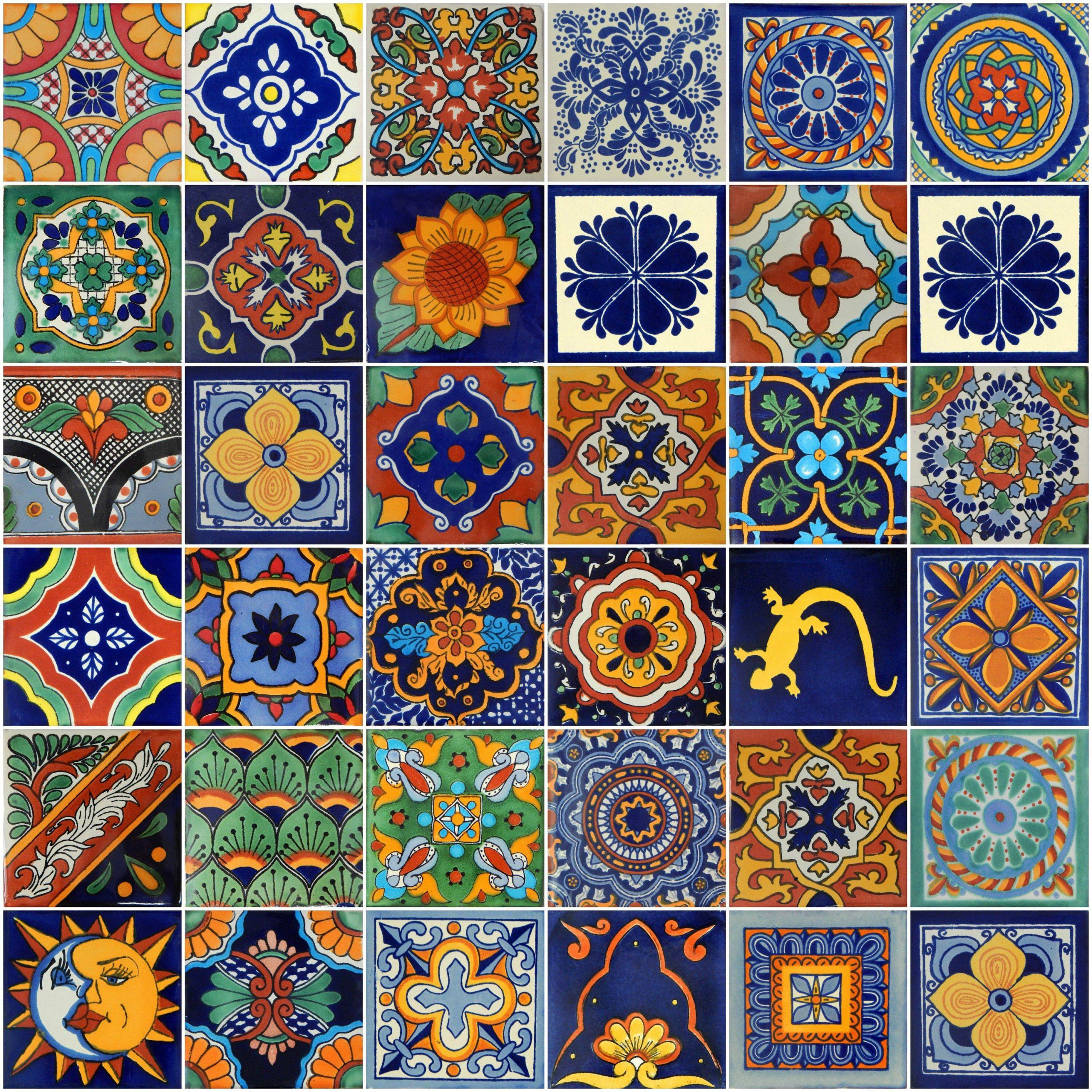 Exceptional Decorative 4x4 Ceramic Tiles Elegant Box 100 Mexican Talavera Tiles Handmade assorted Designs