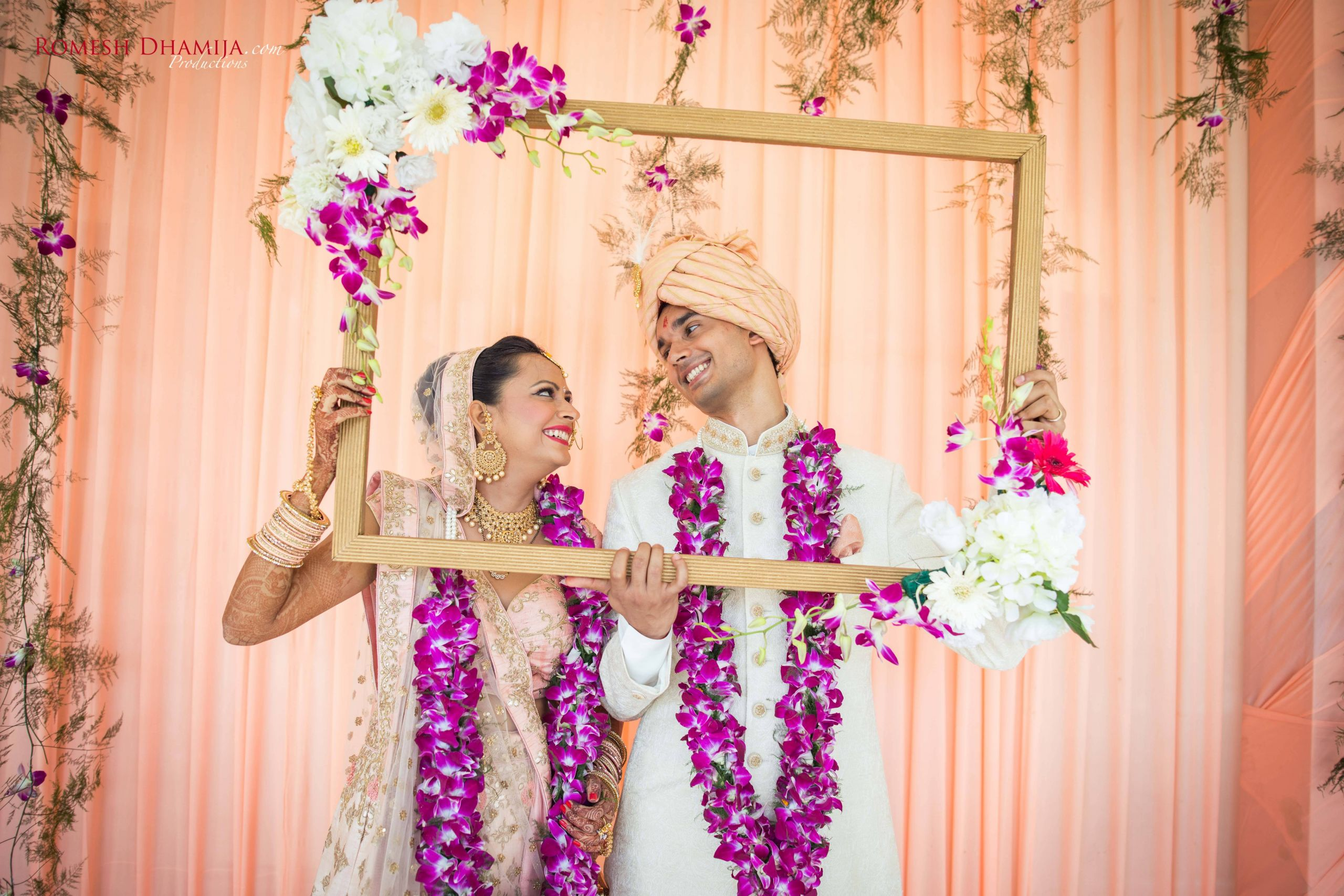 New Indian Wedding House Decorations Beautiful Couple Portrait Peach Palette Day Wedding