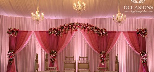 New Indian Wedding House Decorations Elegant Pink Drapery and Floral Mandap Indian Wedding Mandaps